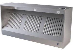 Wandafzuigkap rechthoekig met motor, filters en verlichting